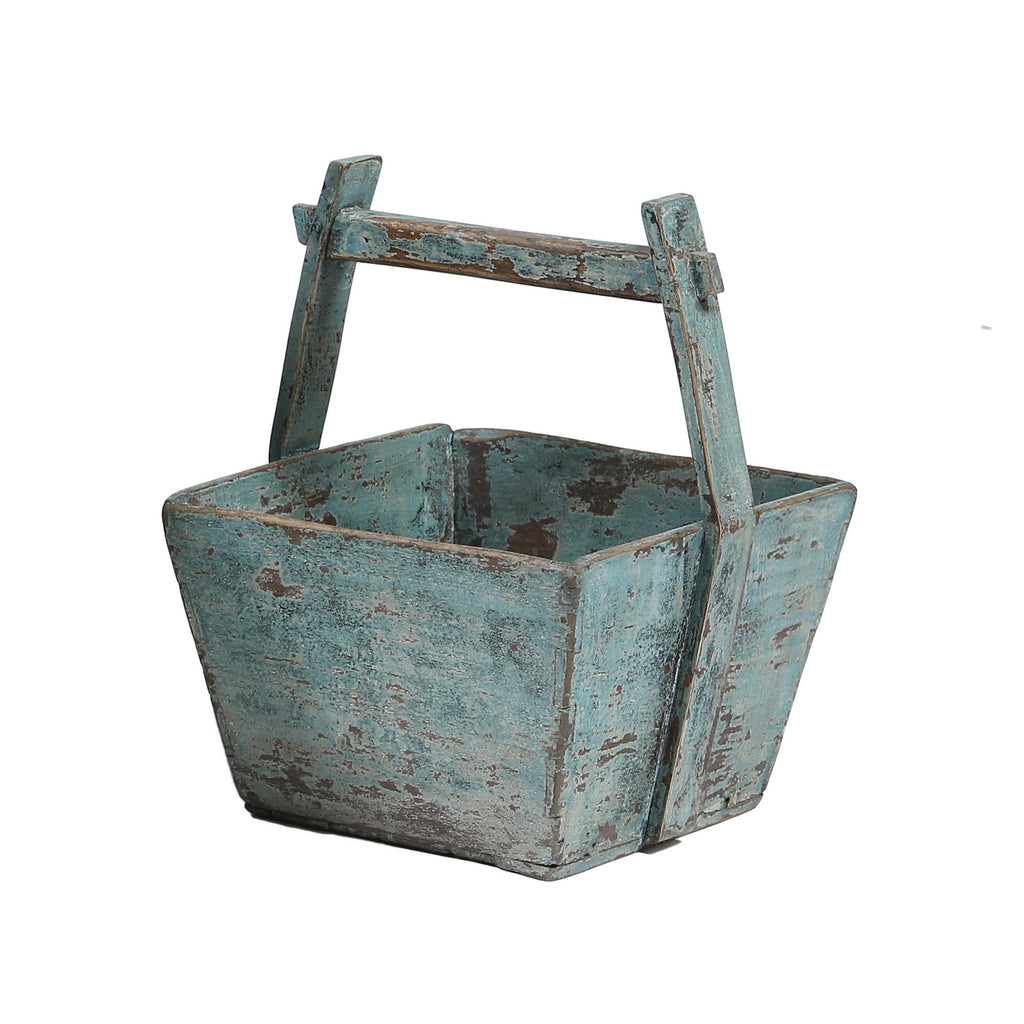 Vintage Wooden Square Bucket