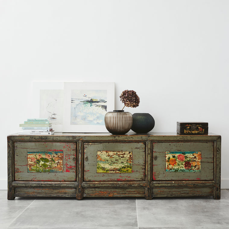 Large Vintage Grey Sideboard with Faded Painting from Gansu