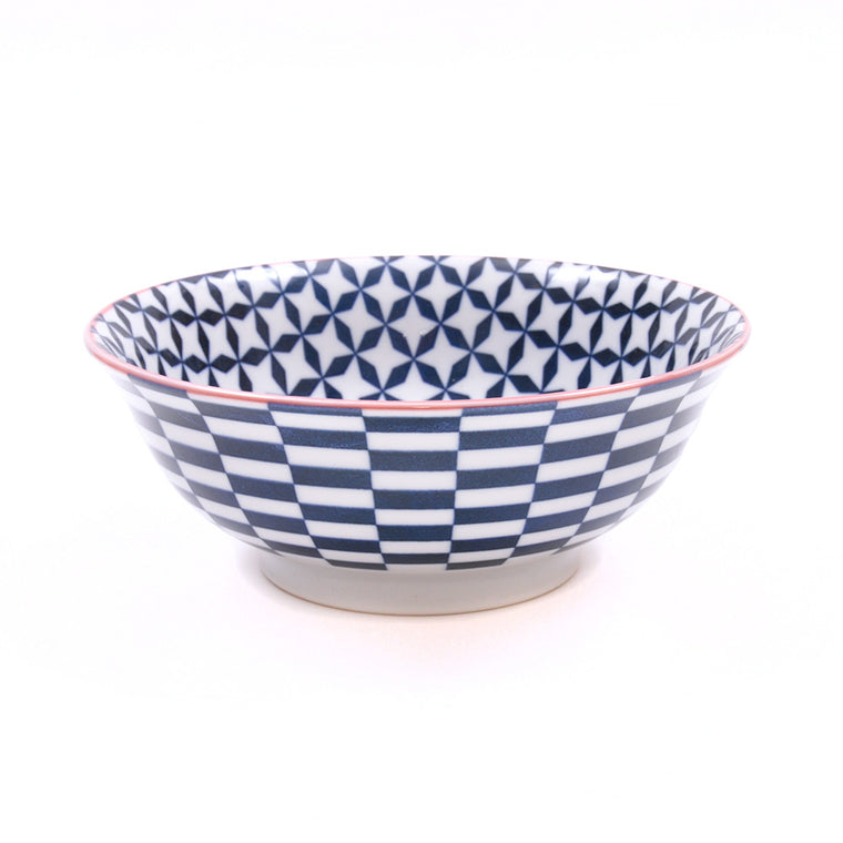 Porcelain Noodle Bowl - Geo Eclectic Dark Blue - Chinese homewares- Rouge Shop antique stores London - city furniture