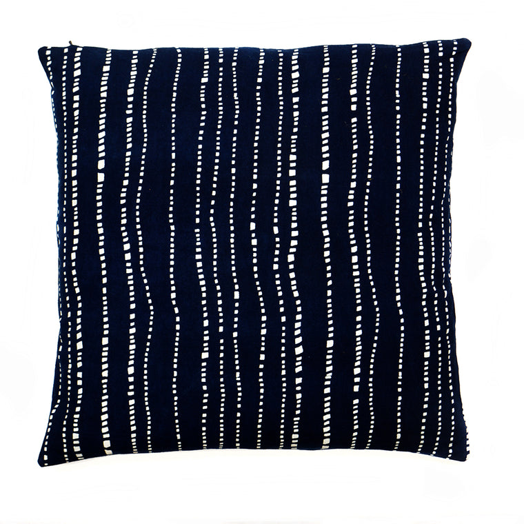 Wonky Stripe Pattern Handmade Indigo Dye Cushion - 50 x 50cm - Chinese homewares- Rouge Shop antique stores London - city furniture