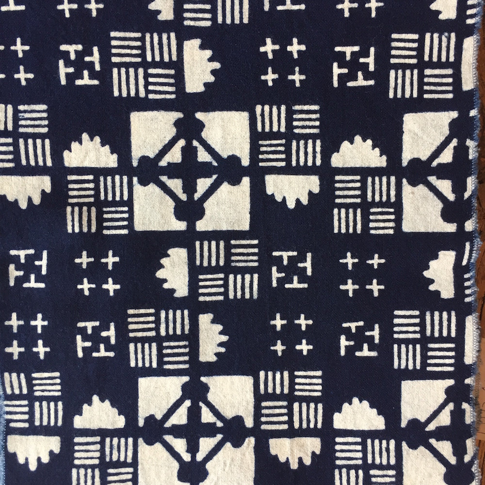 Indigo calico cotton scarf. Geometric pattern - Chinese homewares- Rouge Shop antique stores London - city furniture