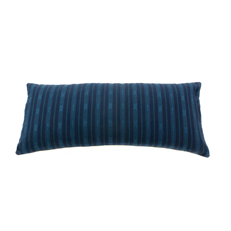 Striped Hand Woven Ifugao Blue Pattern Cushion - Dark Blue Stripes 30 x 70cm - Chinese homewares- Rouge Shop antique stores London - city furniture