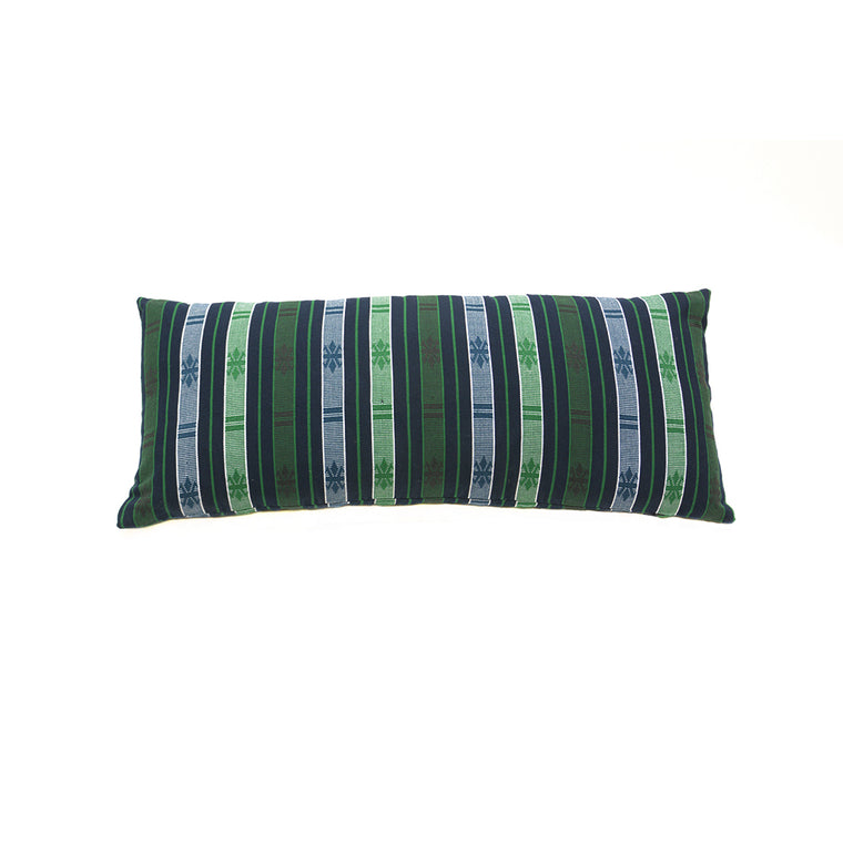 Abstract Butterfly Hand Woven Ifugao Pattern Cushion - Green and Blue Stripes 30 x 70cm - Chinese homewares- Rouge Shop antique stores London - city furniture