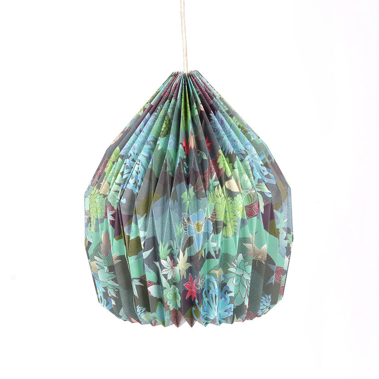 Origami Paper Pendant Lampshade Cocoon in Japan Green