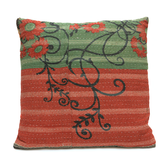Vintage Cotton Kantha Stitch Cushion - Green and Red with Floral Tendrils