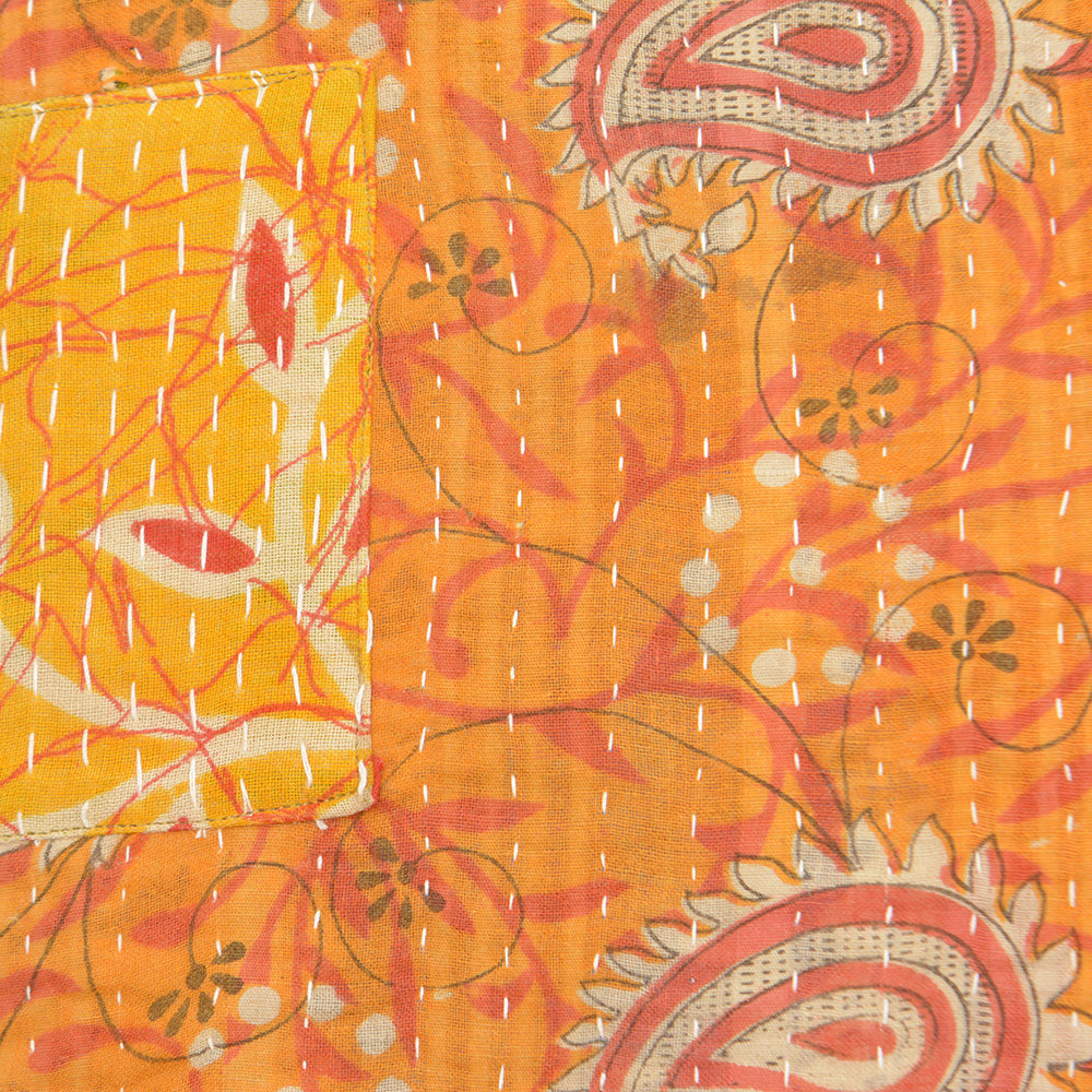 Vintage Cotton Kantha Stitch Cushion - Orange and Red Branch Pattern