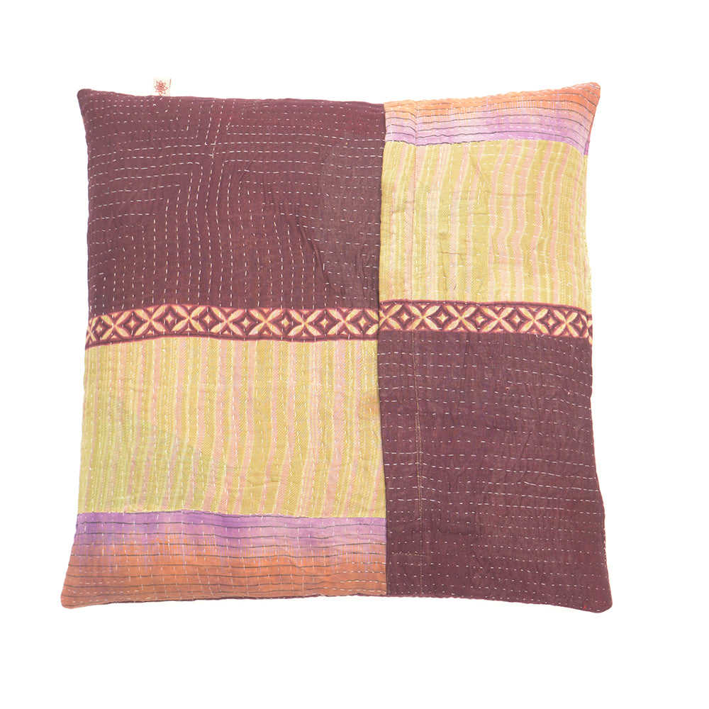 Vintage Cotton Kantha Stitch Cushion - Burgundy and Lilac Pattern