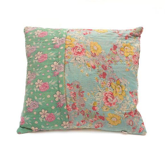 Vintage Cotton Kantha Stitch Cushion - Pink Flower on Green and Pink Clouds