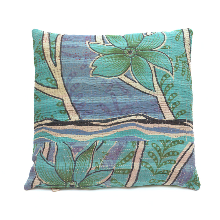 Vintage Cotton Kantha Stitch Cushion - Lilac Blue and Green Floral Pattern