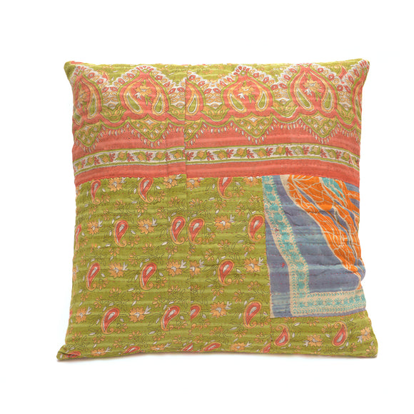 Vintage Cotton Kantha Stitch Cushion - Green and Red Flora Pattern