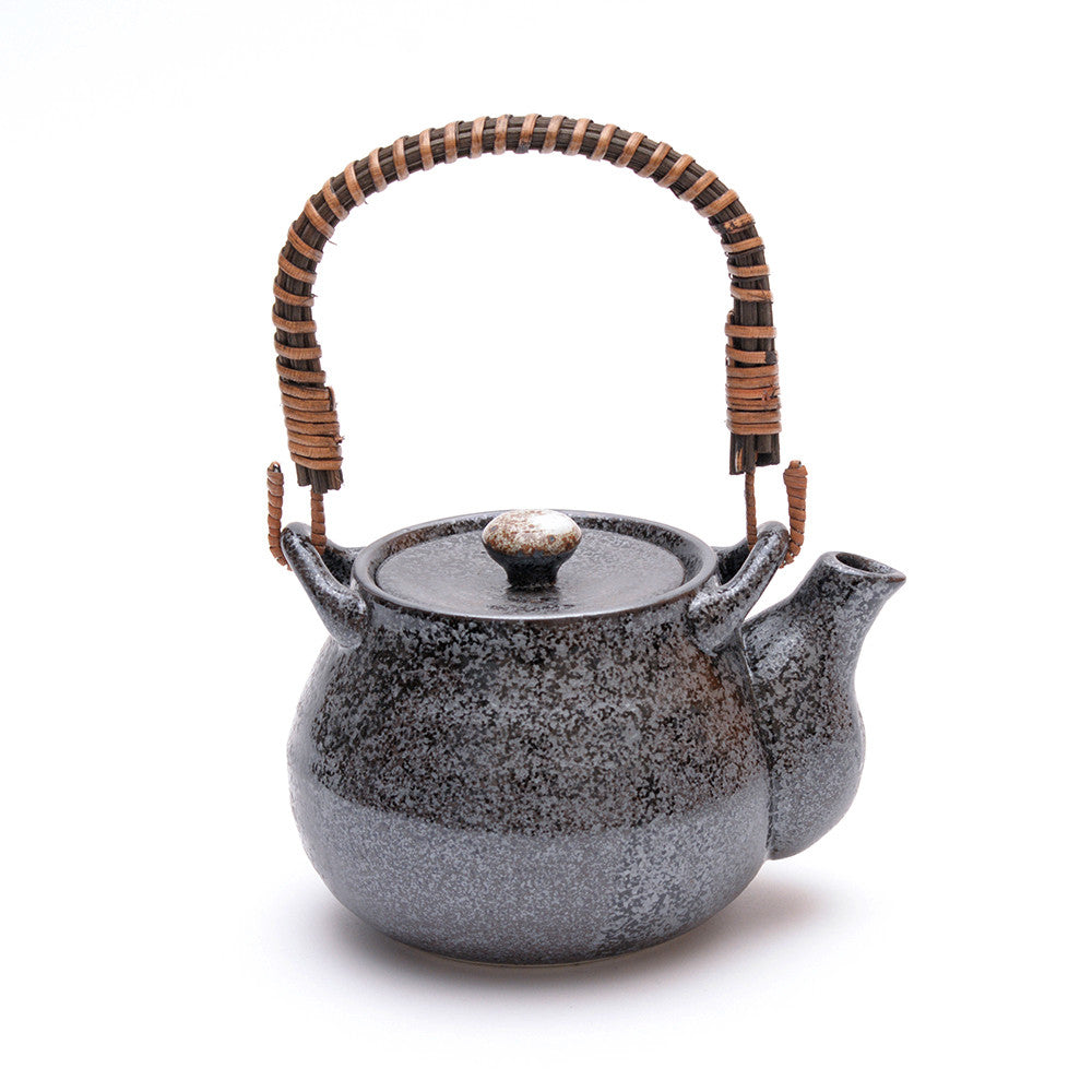 Japanese Black Kosui Glaze Teapot side view