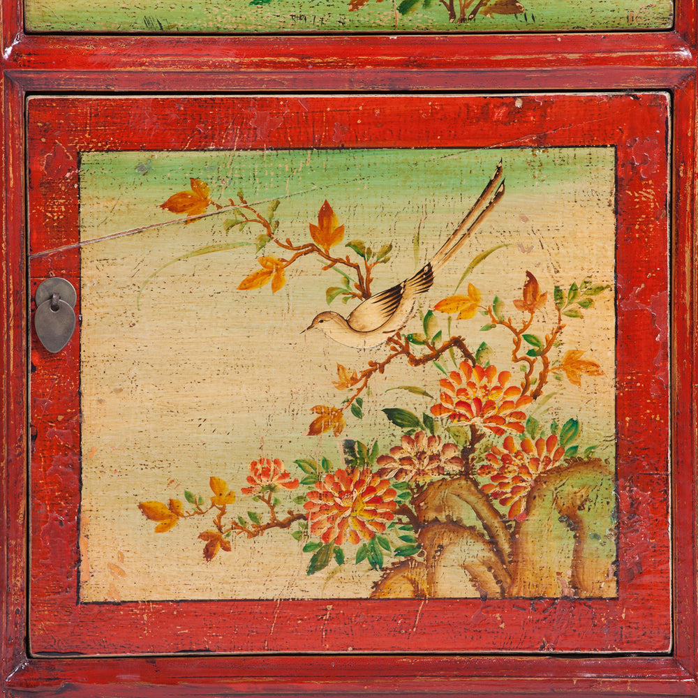 Chinese Painted Bedside Cabinet with Bird and Flora Motifs - Chinese homewares- Rouge Shop antique stores London - city furniture