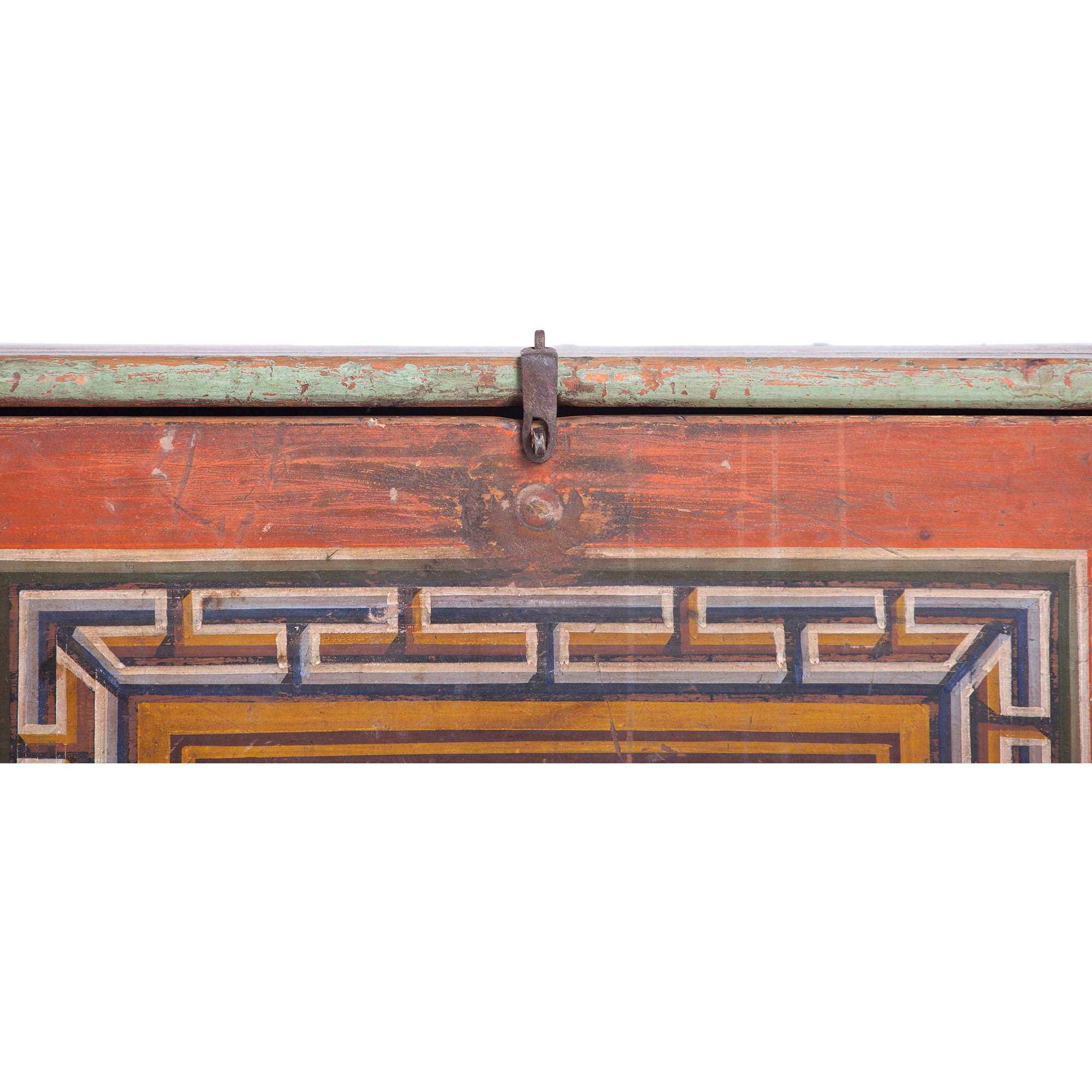 Vintage Mongolian Chest with Endless Knot Symbol detail
