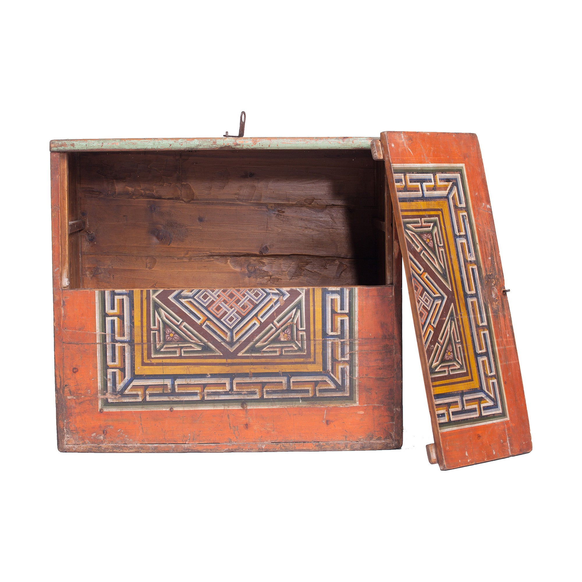 Vintage Mongolian Chest with Endless Knot Symbol one door open