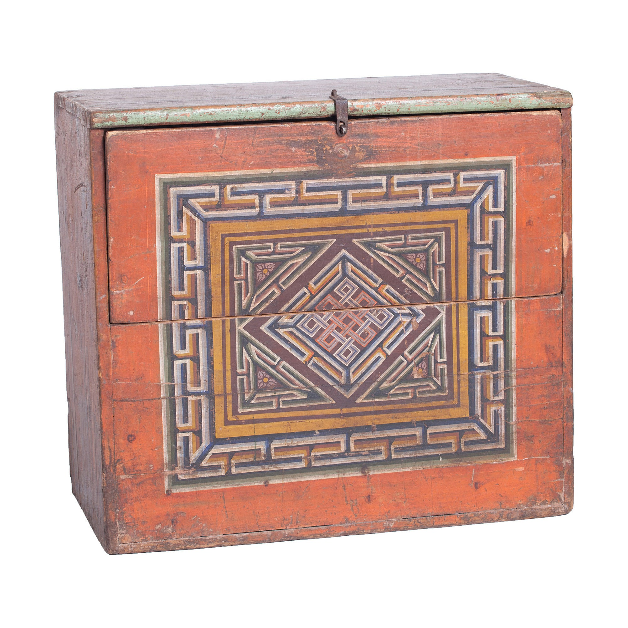 Vintage Mongolian Chest with Endless Knot Symbol side view