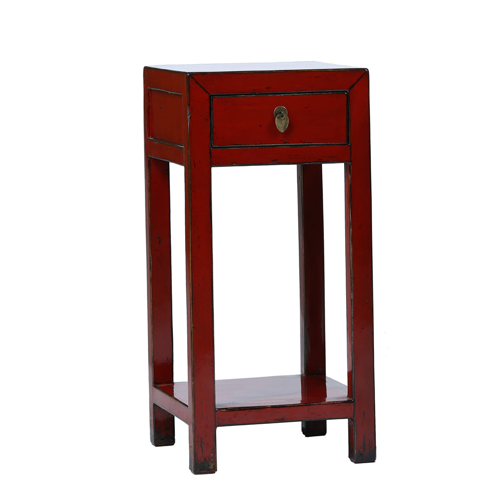 Chinese Side Table.Square Red Chinese Side Table Rouge