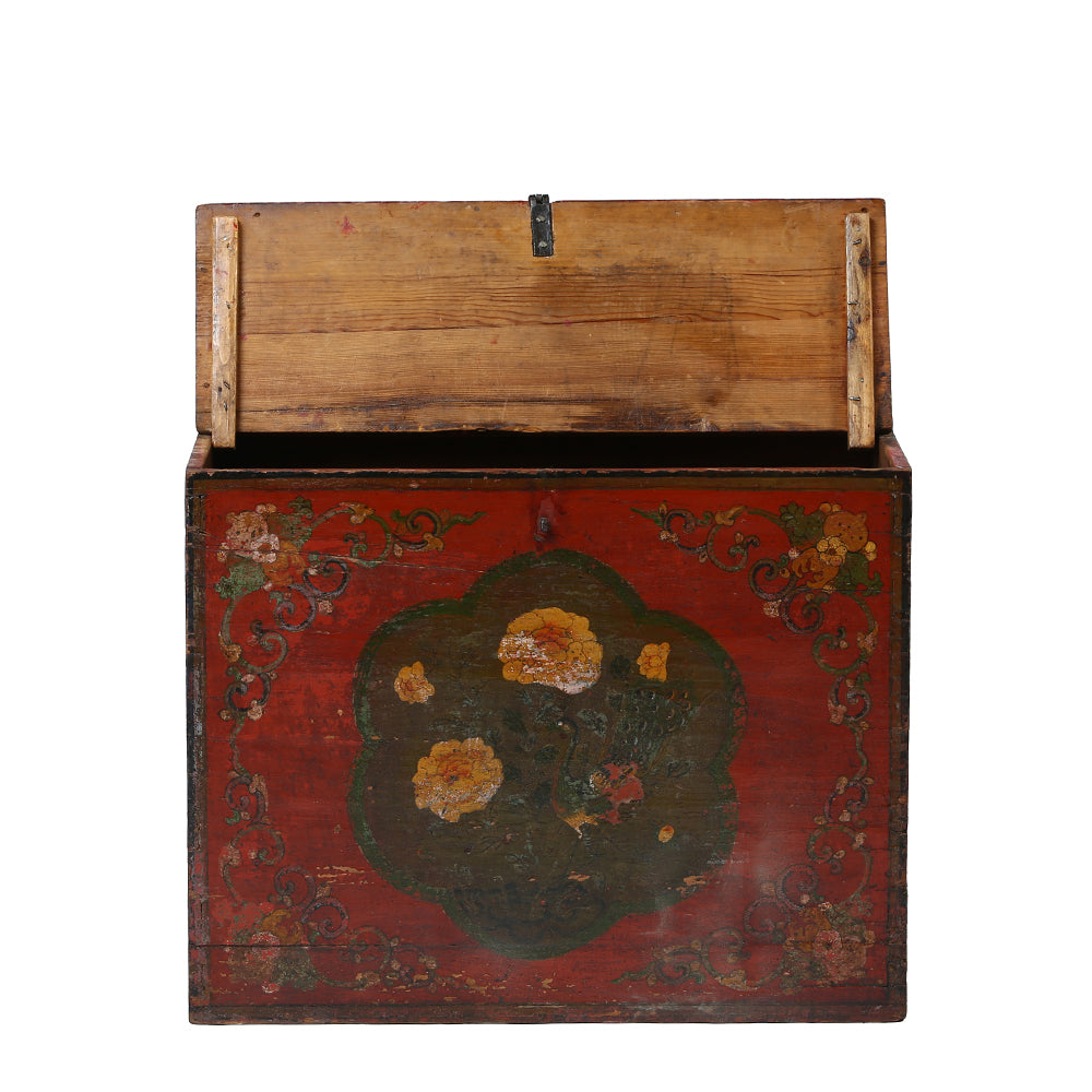 Vintage Mongolian Chest with Peacock and Peony Motif - Chinese homewares- Rouge Shop antique stores London - city furniture
