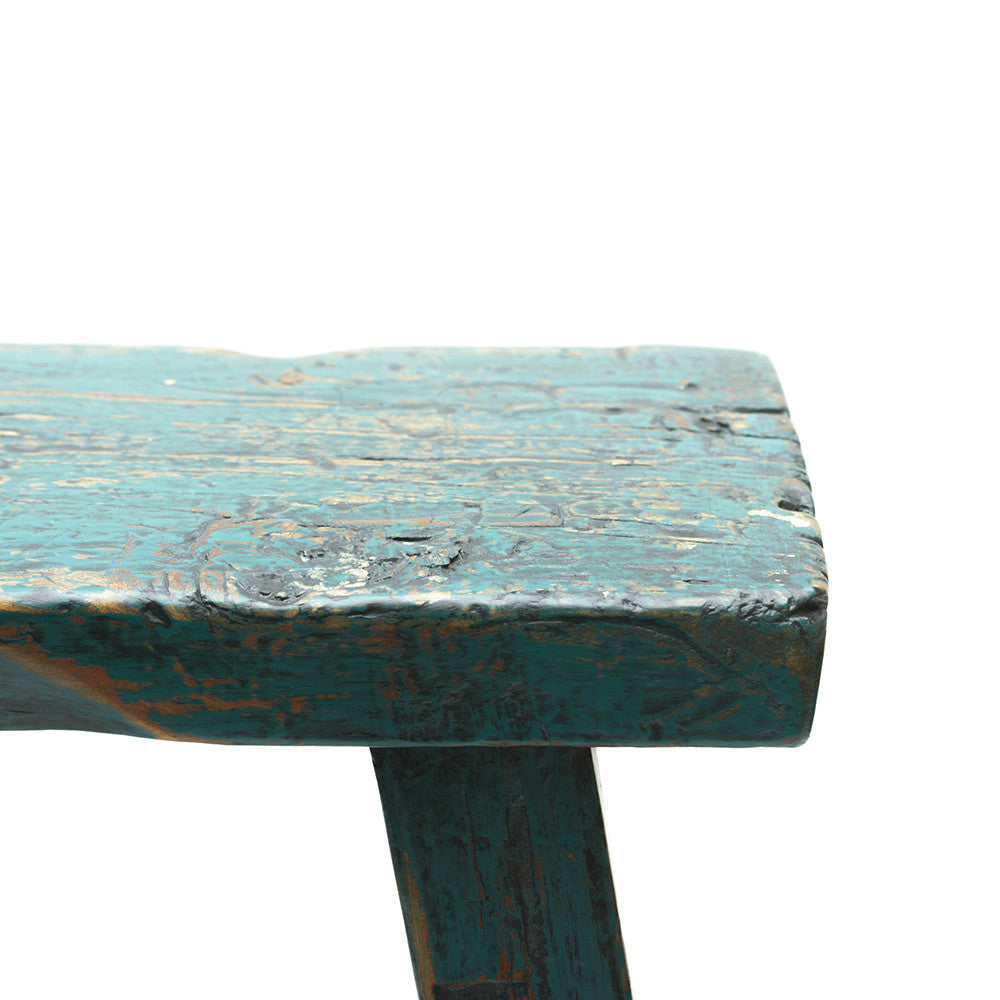 Rustic Blue Chinese Stool surface detail