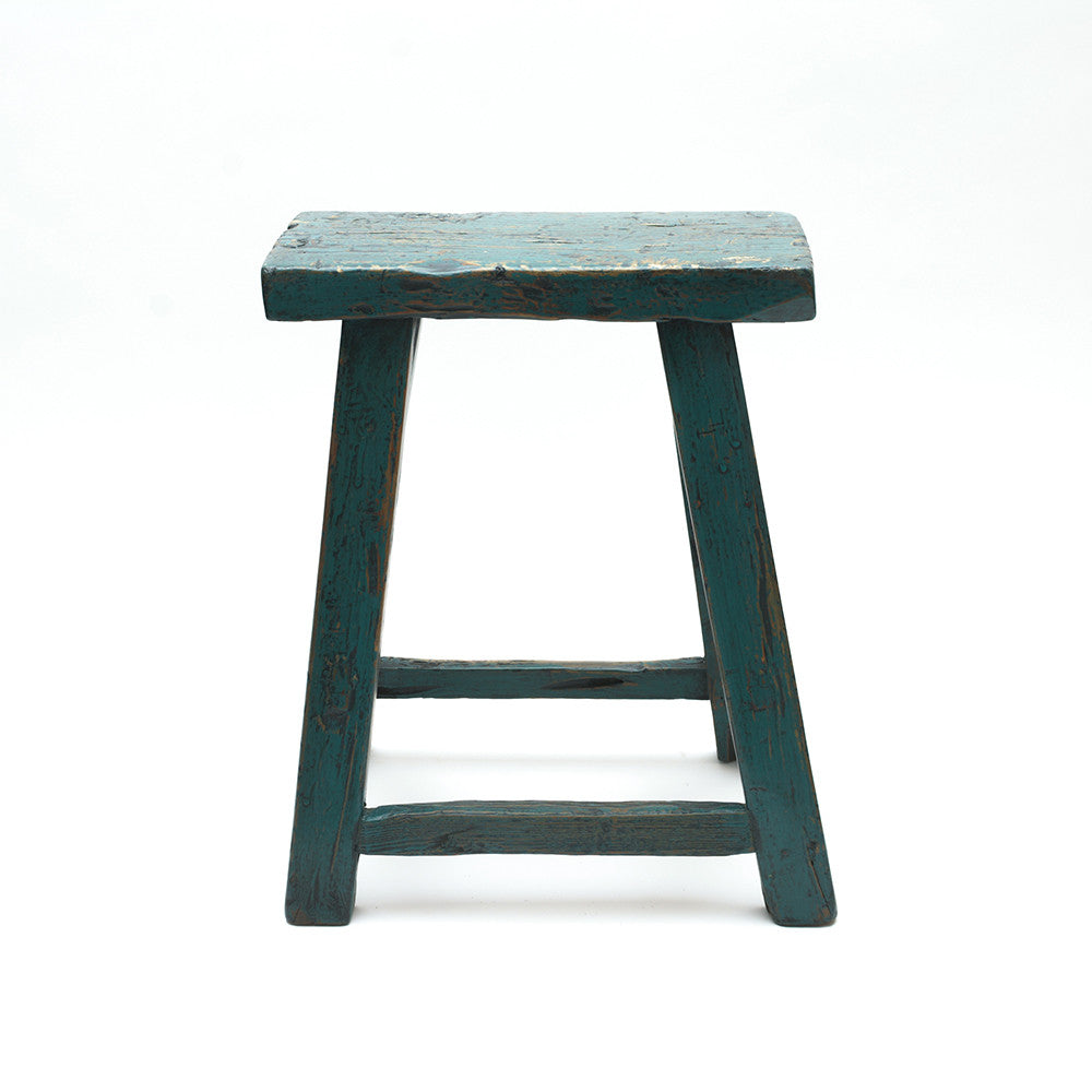 Rustic Blue Chinese Stool