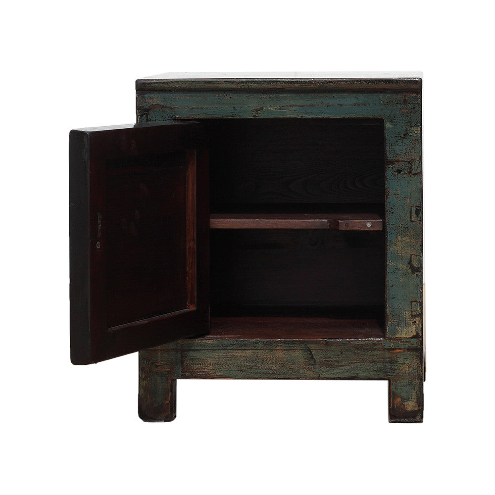 Chinese Turquoise Bedside Cabinet Dongbei Style - hinged on left - Chinese homewares- Rouge Shop antique stores London - city furniture