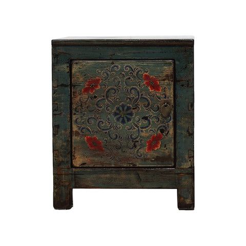 Chinese Turquoise Bedside Cabinet Dongbei Style - hinged on left