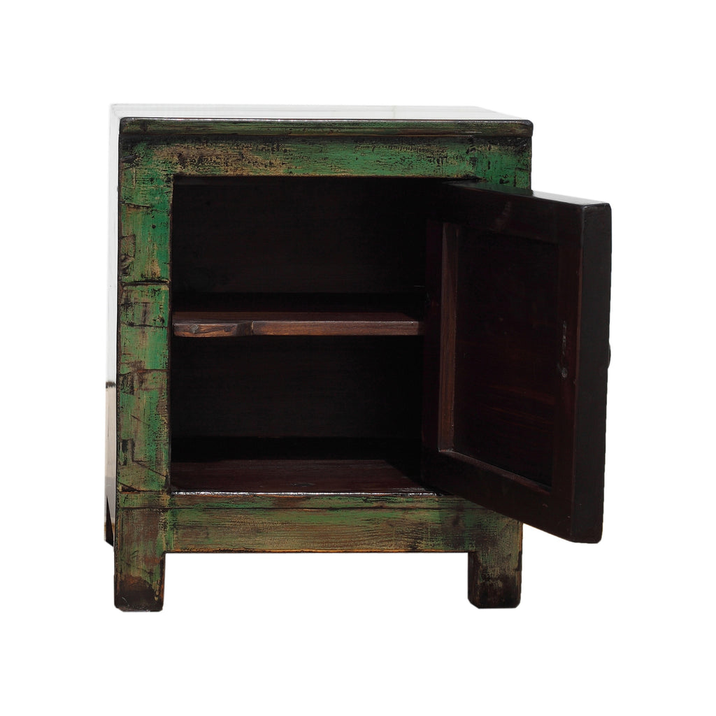Green Chinese Small Cabinet - Endless knot door open