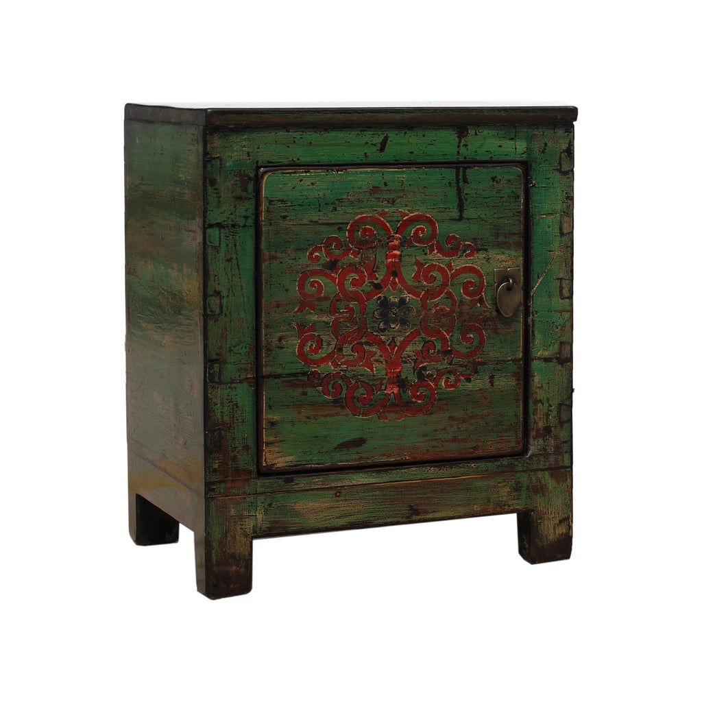 Green Chinese Bedside Cabinet - Endless Knot side view