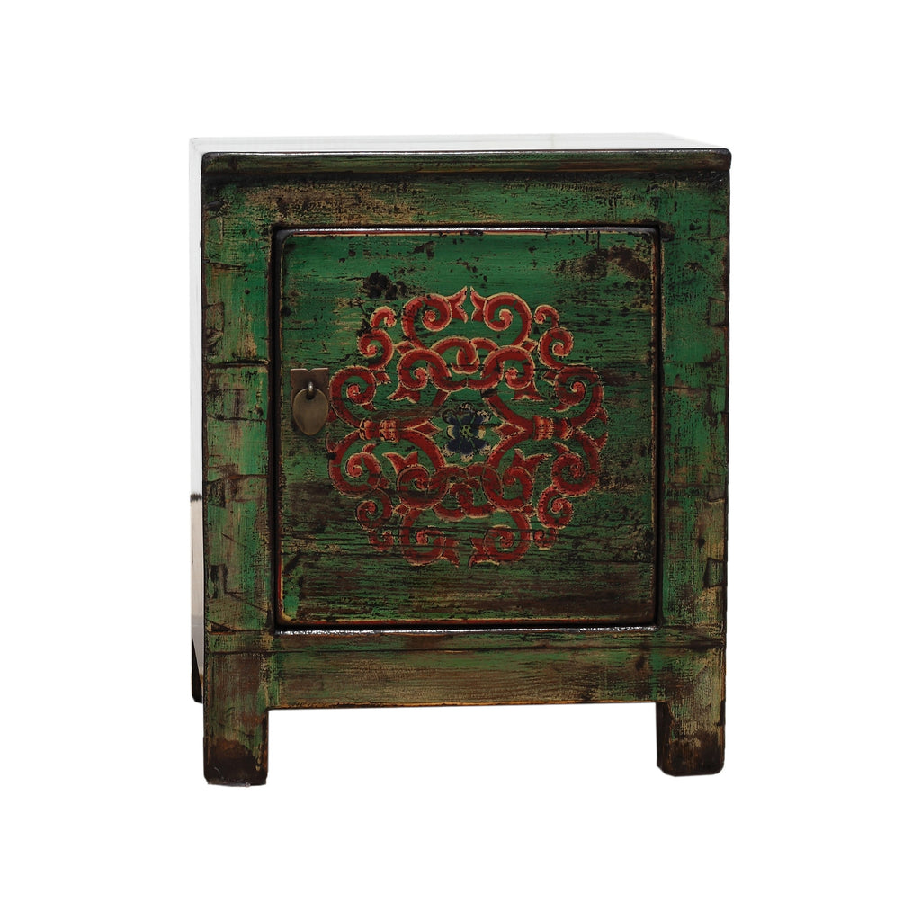 Green Chinese Small Cabinet - Endless knot front view