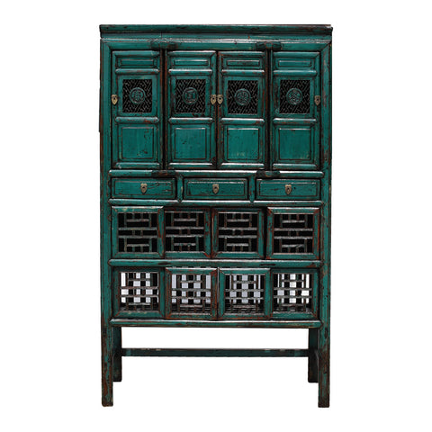 Vintage Chinese Fretwork Kitchen Cabinet in Turquoise