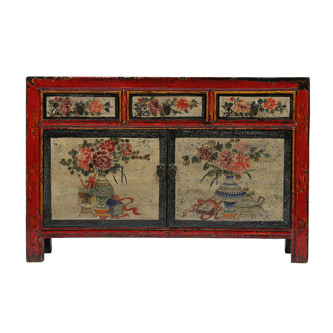 Vintage Cabinet from Gansu with Vase and Flower Motifs - Chinese homewares- Rouge Shop antique stores London - city furniture