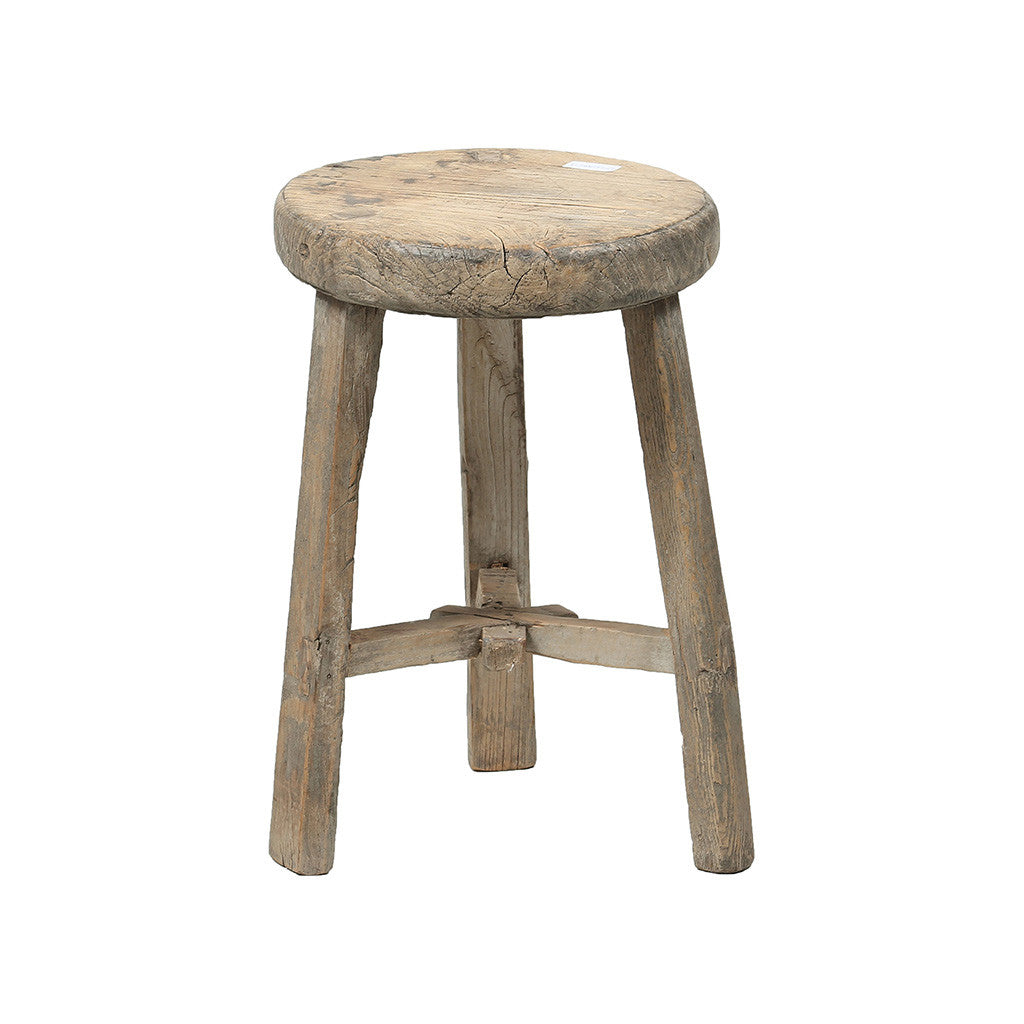 Rouge Chinese Vintage Elmwood Round Stool