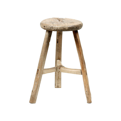 ROUGE Round Vintage Chinese Stool - natural wood