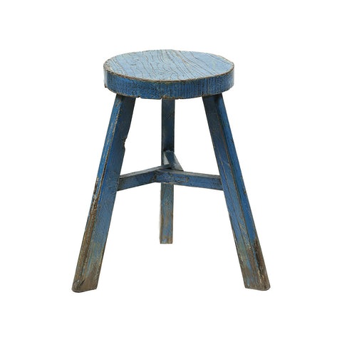ROUGE Round Vintage Chinese Wooden Stool - distressed blue