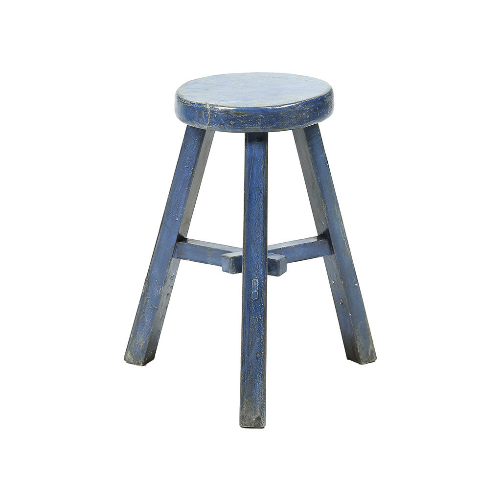 ROUGE Round Vintage Chinese Tool Painted Blue