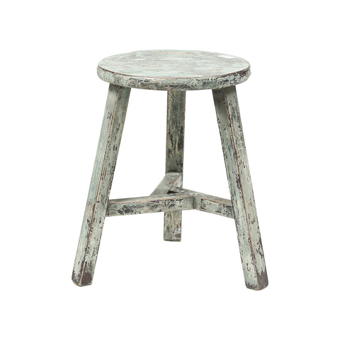 Rouge Vintage Chinese Elmwood Round Stool in Patinated Blue