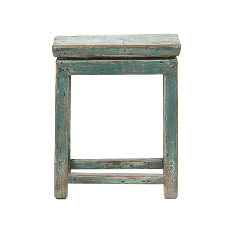 Grey-Blue Rectangular Vintage Chinese Stool - Chinese homewares- Rouge Shop antique stores London - city furniture