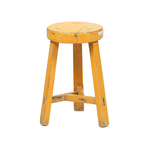 Rouge vintage round stool in yellow