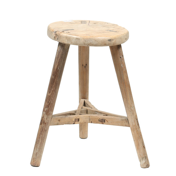 Vintage Rustic Wooden Chinese Stool
