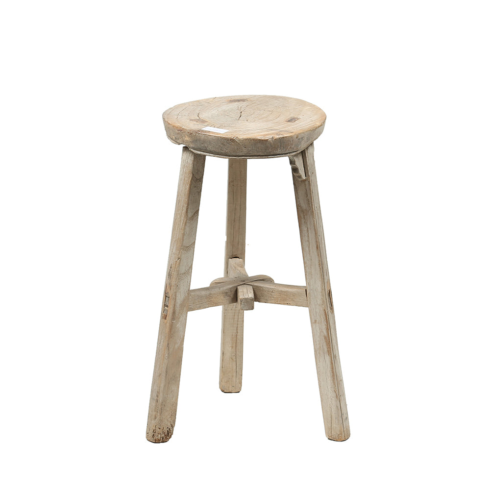 Vintage Rustic Wooden Chinese Stool - Round No 5 - Chinese homewares- Rouge Shop antique stores London - city furniture
