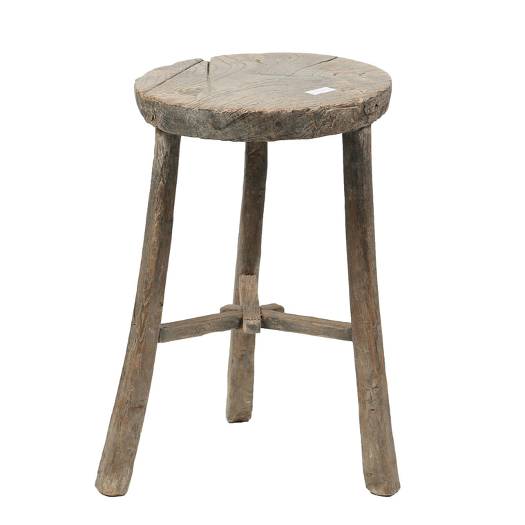 Vintage Rustic Wooden Chinese Stool - Round No 8 - Chinese homewares- Rouge Shop antique stores London - city furniture
