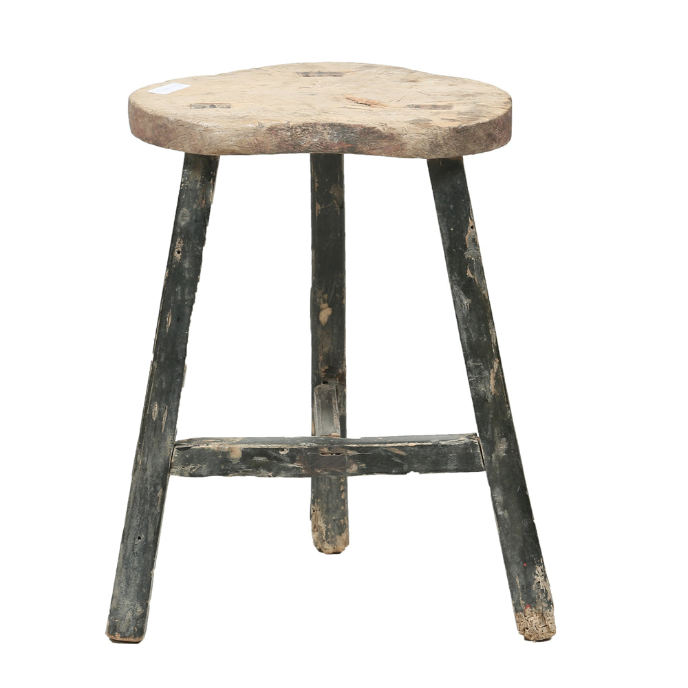 Vintage Rustic Wooden Chinese Stool - Round No 10