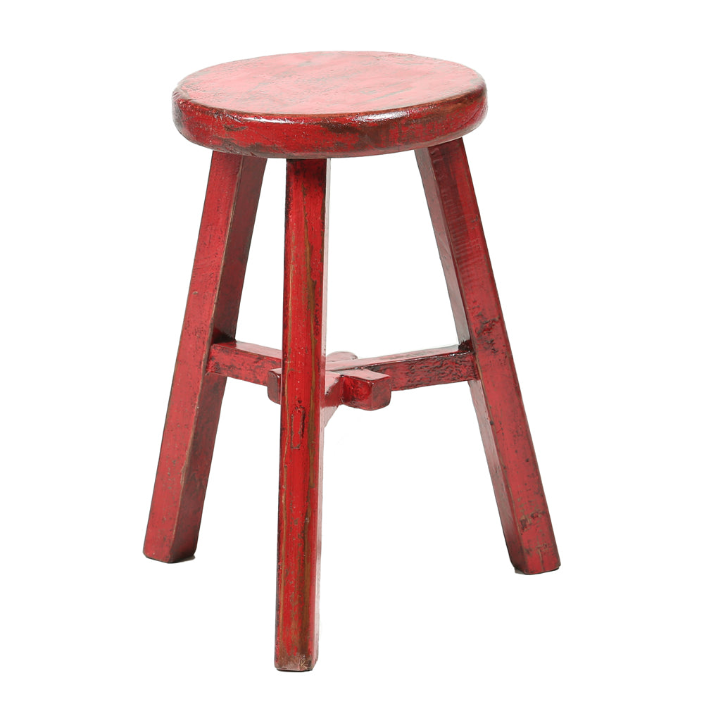 Round Chinese Stool in Red