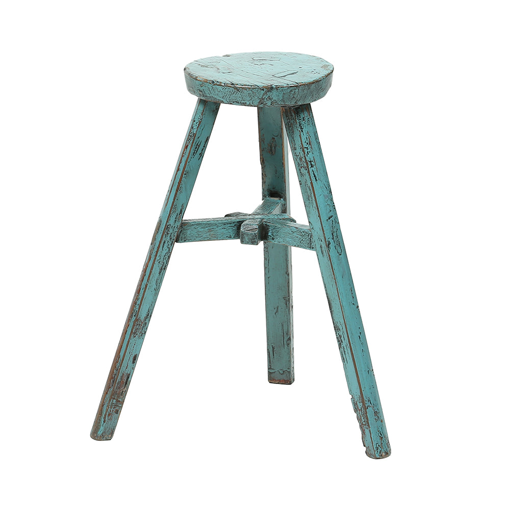 Vintage Wooden Chinese Round Stool - Teal