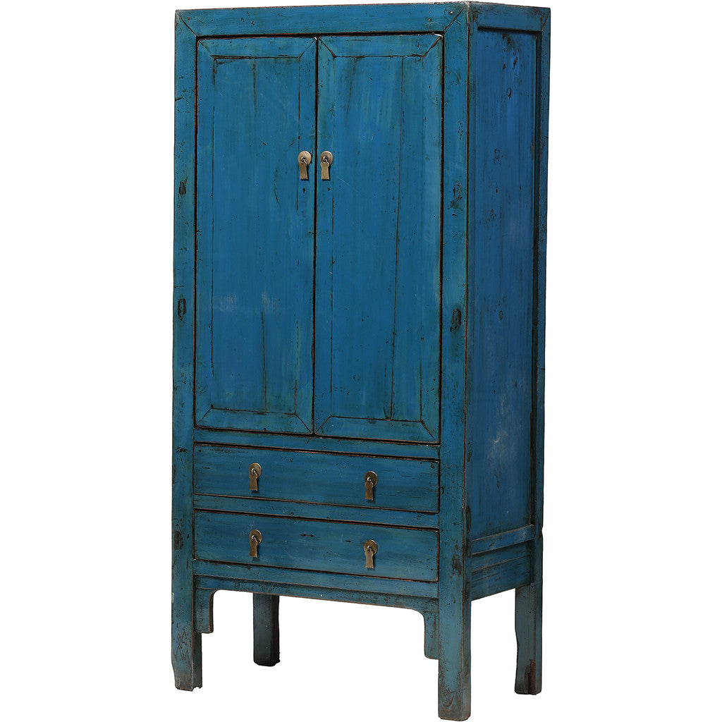 Vintage Chinese Blue Cabinet from Shandong