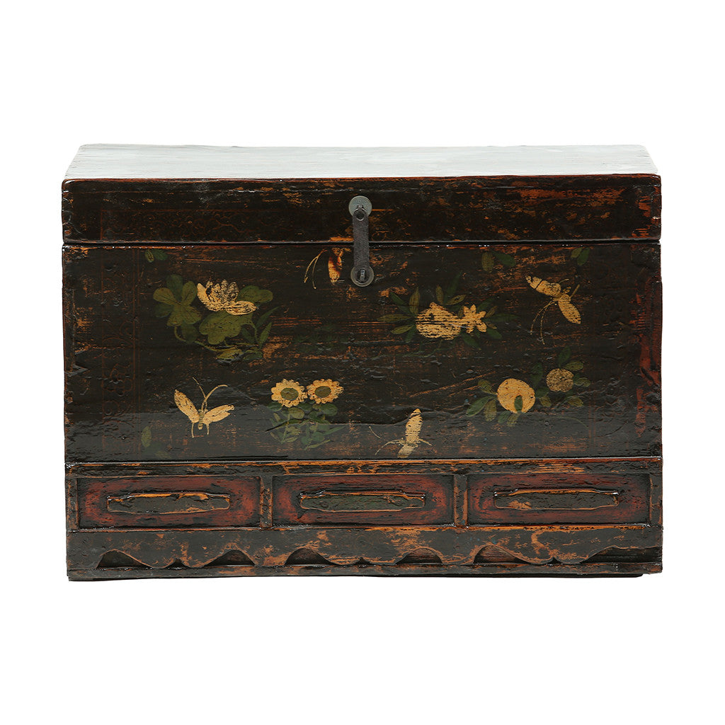 Vintage Chest from Gansu with Floral and Butterfly Motifs