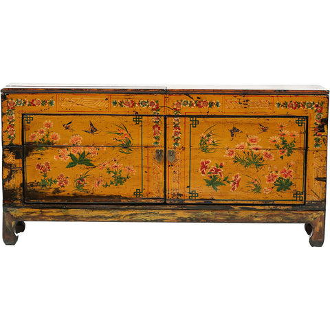 Low Vintage Chinese Sideboard with Floral Motifs - Asian Inspired Furniture Accessories Cermaics - Rouge Shop