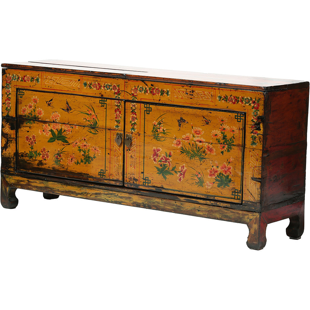 Low Vintage Chinese Sideboard with Floral Motifs
