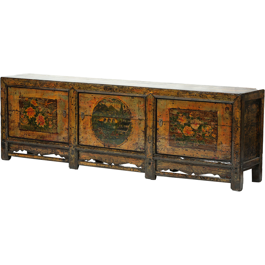 Vintage Orange Yellow Sideboard with Floral and Landscape Paintings