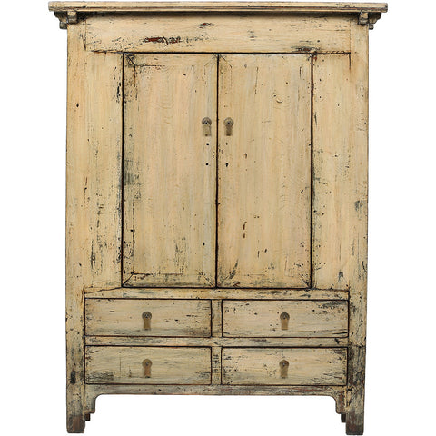 Cream-Grey Vintage Chinese Cabinet from Shanxi - Asian Inspired Furniture Accessories Cermaics - Rouge Shop