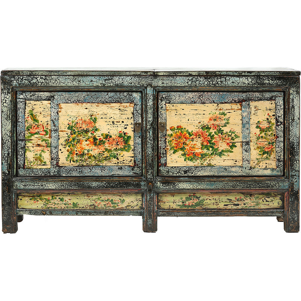 Vintage Chinese Cabinet from Gansu - Floral Motifs